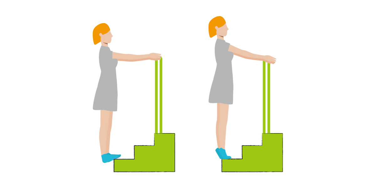 Calf raises and calf strengthening combination with steps