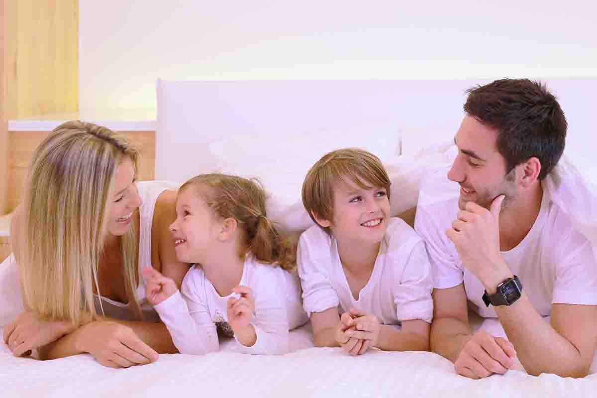 Family using electric underblanket